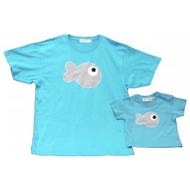 conjunto camiseta pez padres e hijos
