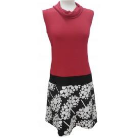 Vestido rojo-estamp negro
