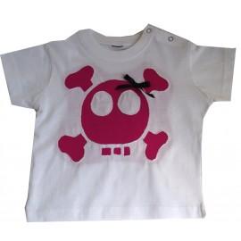 camiseta calavera rosa