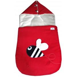 saco capazo rojo con abeja