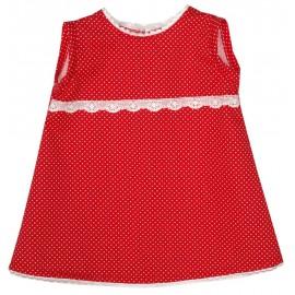 vestido niña rojo con topitos blancos