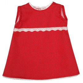 Vestido Niña Rojo Topitos