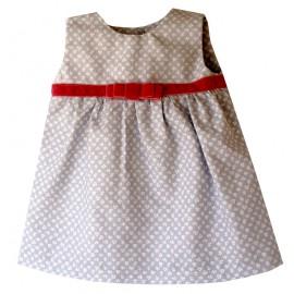 vestido niña gris florecitas