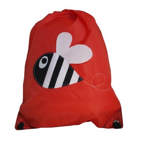 mochila roja abeja