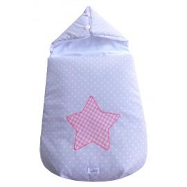 saco estrellitas gris, estrella rosa