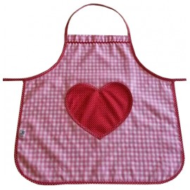 Delantal cocina vichy rosa, corazón.