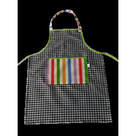 Delantal cocinero vichy negro rayas colores