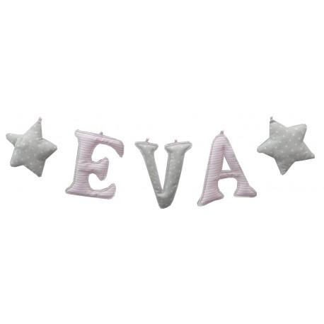 Guirnalda letras rayitas rosas