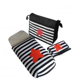 conjunto saco, bolso y cambiador rayas blancas negras, estrella