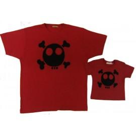 conjunto camiseta padre hijo, roja calavera