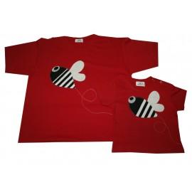 conjunto camiseta padre hijo, roja abejas