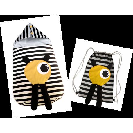 Conjunto saco y mochila monstruo amarillo