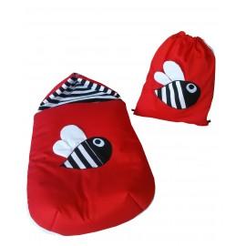 Conjunto saco y mochila rojo abeja