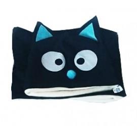 Conjunto gorro y braga gatito azul