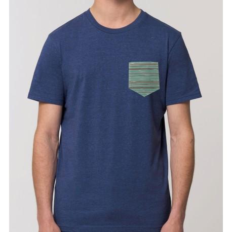Camiseta Hombre Azul Jaspeado
