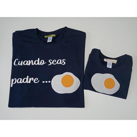 conjunto camiseta padre hijo, Azul Marino huevo frito